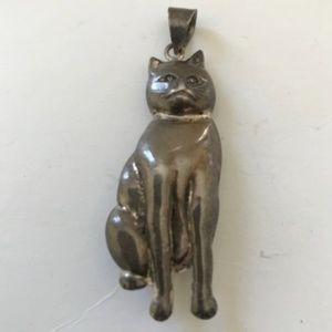 Vintage Cat Pendant Silver Metal